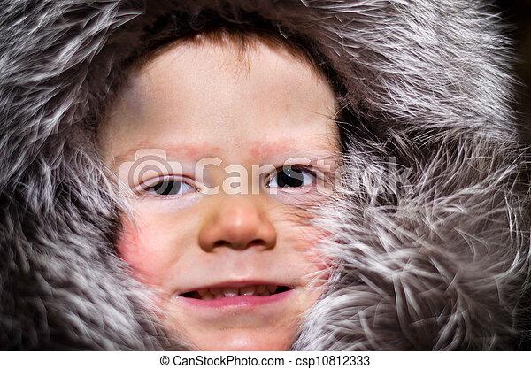 little boy in fur cap - csp10812333