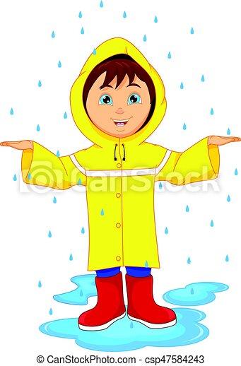 vector illustration of little boy in raincoat