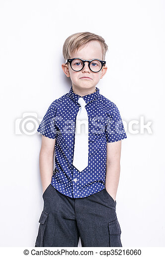 da51d7dfce46 Little boy in tie and glasses. Little adorable kid in tie and ...