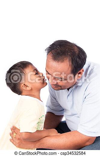 little boy kiss father - csp34532584