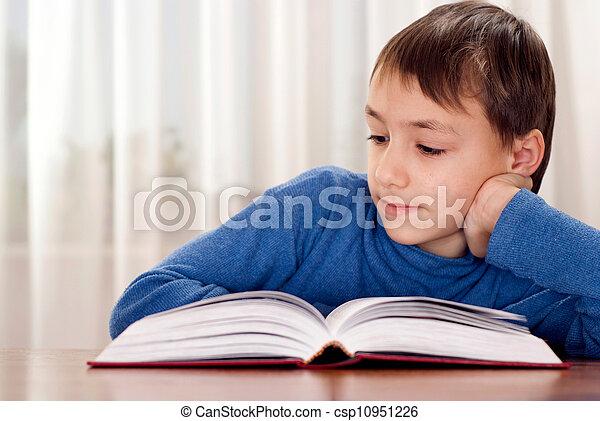 Little boy makes homework - csp10951226