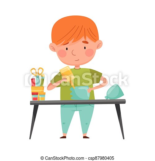 Little Boy Modeling from Disposable Plastic Bottle Sticking with Glue Vector Illustration - csp87980405