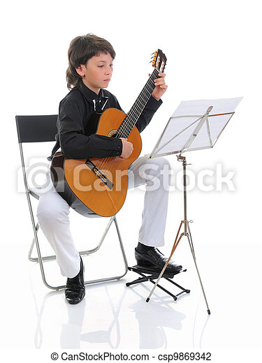 Little boy musician playing guitar - csp9869342
