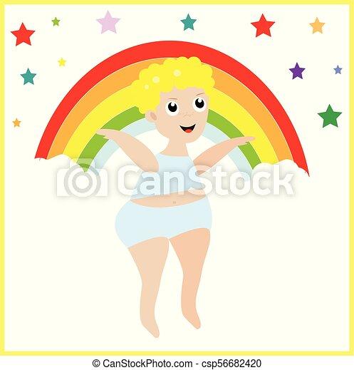 Little boy on the rainbow - csp56682420