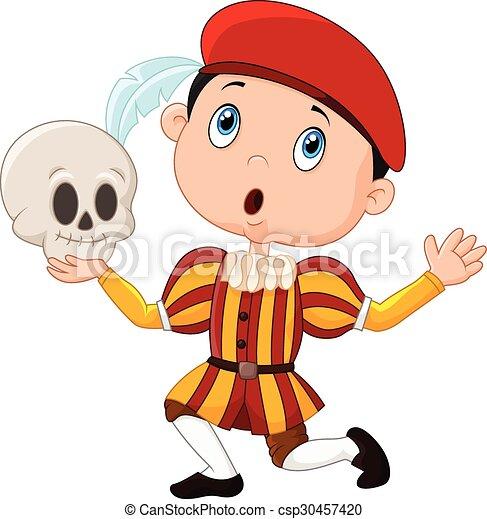 Little boy playing Hamlet - csp30457420