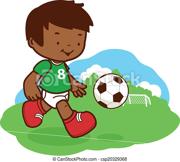 little boy playing soccer african american child plays clip art rh canstockphoto com