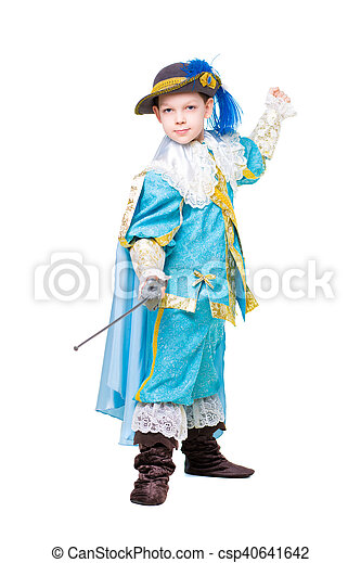 Little boy posing in musketeer costume - csp40641642