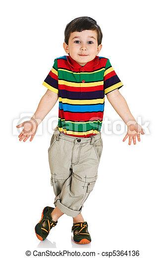 Little boy shrugging shoulders - csp5364136
