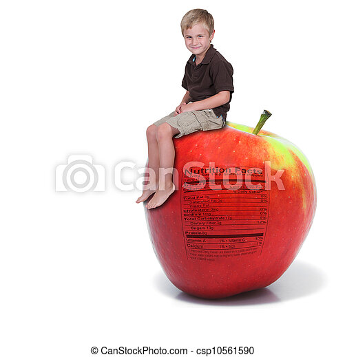 Little Boy Sitting on an Apple with Nutrition Label - csp10561590