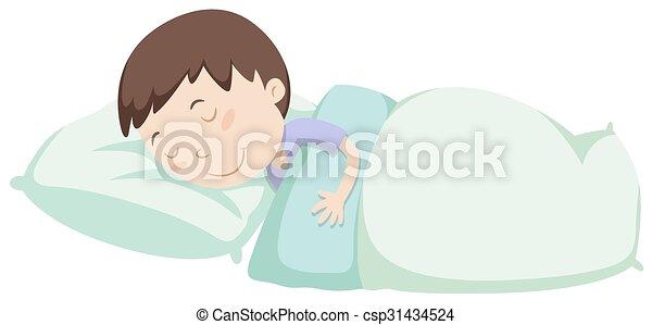 Little boy sleeping under blanket - csp31434524