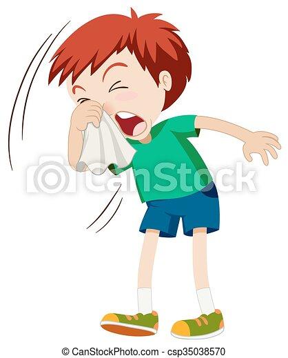 Little boy sneezing hard - csp35038570