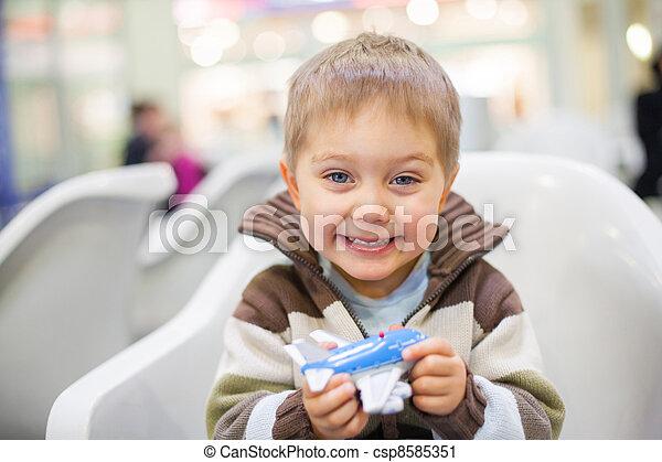 Little Boy Toy Airplane - csp8585351