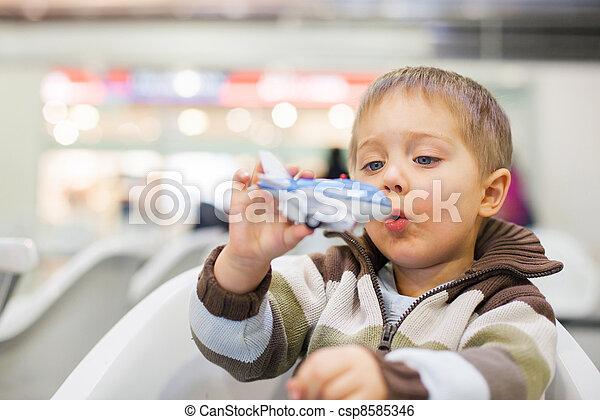Little Boy Toy Airplane - csp8585346