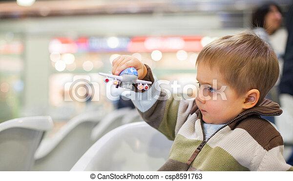 Little Boy Toy Airplane - csp8591763