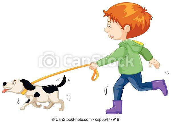 little boy walking dog illustration vector clip art search rh canstockphoto com dog walking clip art free clipart dog walking