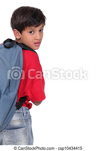 Little boy wearing a rucksack - csp10434415