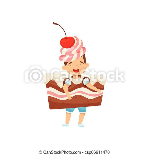 Little boy wearing cake slice costume with cream and cherry. Tasty dessert. Kid with happy face. Flat vector design - csp66611470