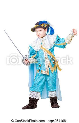 Little boy wearing like musketeer - csp40641681