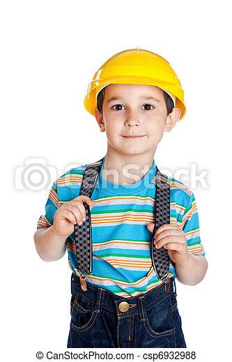 little boy with a building helmet on a head - csp6932988