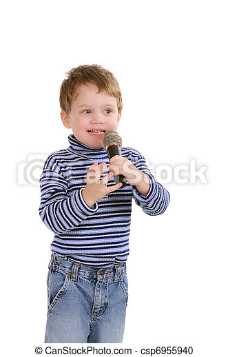 Little boy with a microphone. Isolated on white - csp6955940