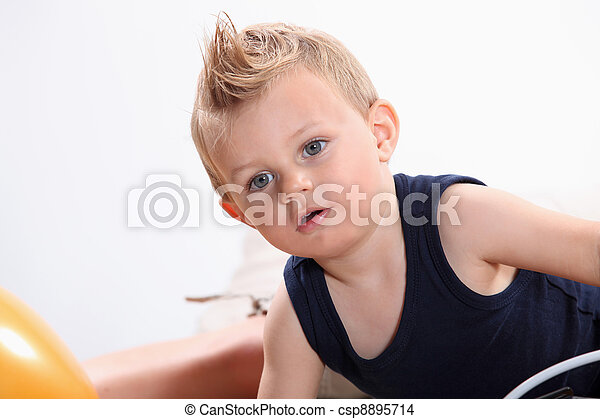Little boy with a tuft. - csp8895714