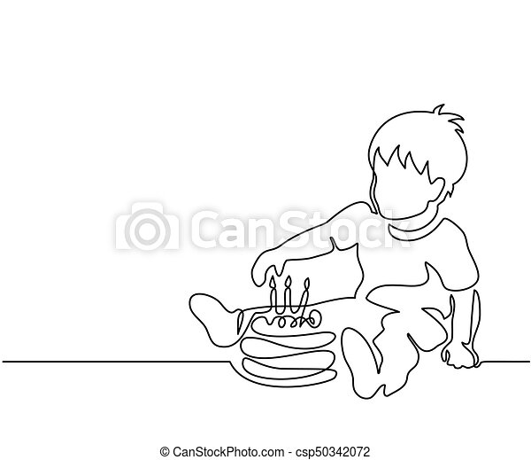 Little boy with birthday cake - csp50342072
