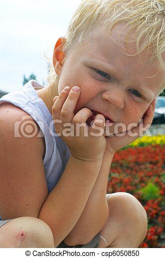 little boy with blond hair - csp6050850