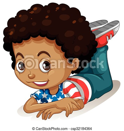 Little Boy With Curly Hair Illustration Canstock