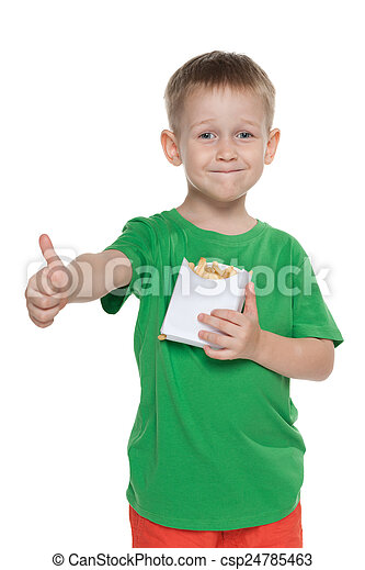 Little boy with fries holds his thumbs up - csp24785463