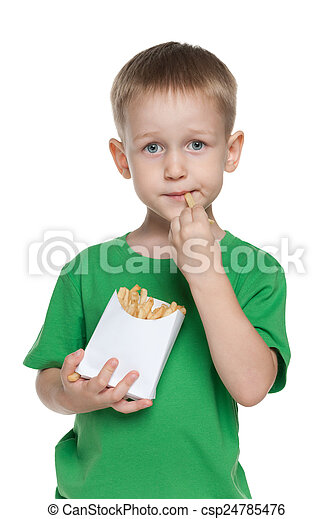 Little boy with fries - csp24785476