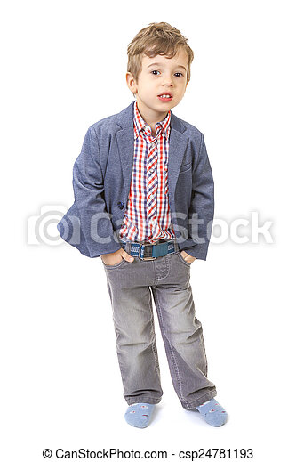 little boy with his hands in pocket - csp24781193