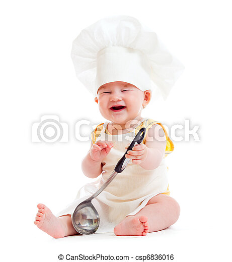 Little boy with metal ladle and cook hat isolated - csp6836016 c571f112a3dc