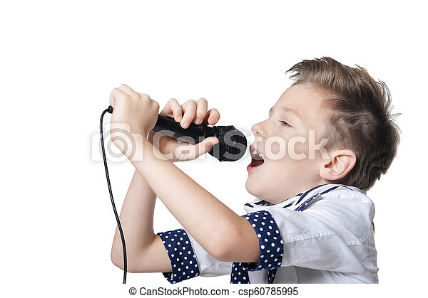 Little boy with microphone on white background - csp60785995