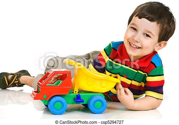 little boy with toy car - csp5294727