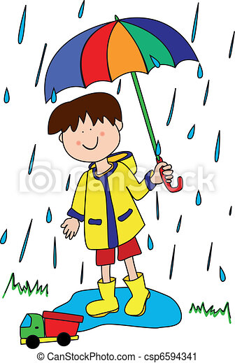 little boy with umbrella large childlike cartoon character little