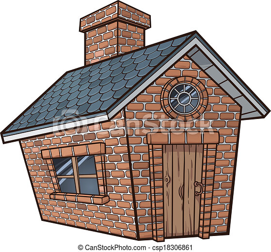 Little Brick House Vector Clip Art Illustration With Simple