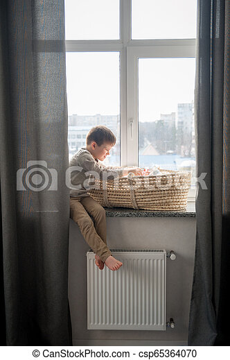 Little brother is sitting near the window with himnewborn sister in the cradle. Children with small age difference. - csp65364070