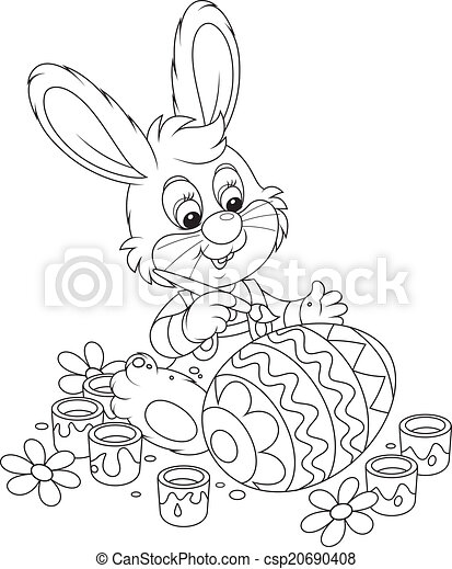 Little Bunny Paints An Easter Egg. Rabbit Coloring A Big Easter Egg To The  Holiday. CanStock