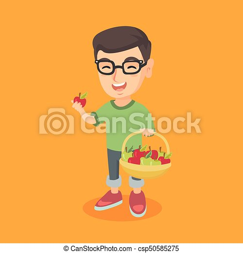 Little caucasian boy holding basket with apples. - csp50585275