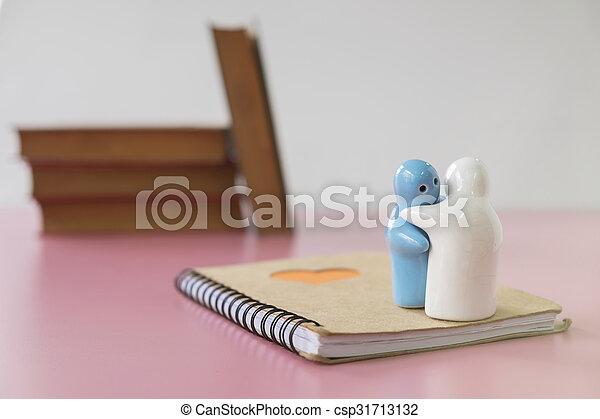 Little ceramic dolls and notebook - csp31713132