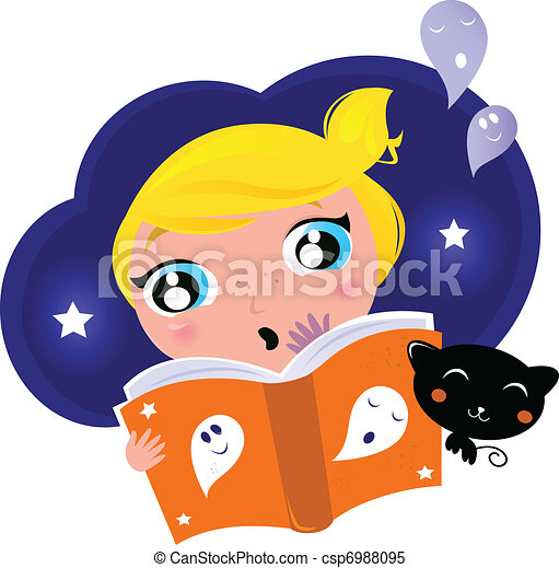 Little child has fear when reading Halloween Night Story  - csp6988095