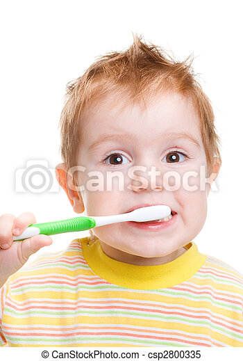 Little child with dental toothbrush brushing teeth.isolated  - csp2800335