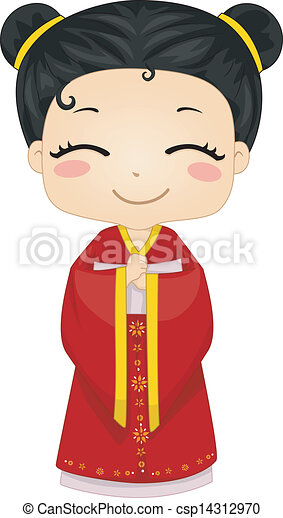 Little Chinese Girl Wearing National Costume Cheongsam - csp14312970