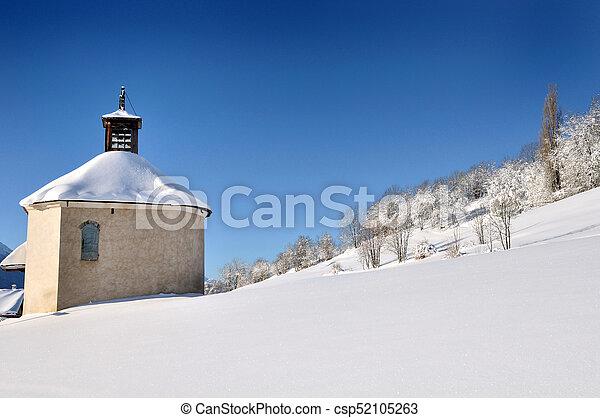 little church in snowy mountain - csp52105263