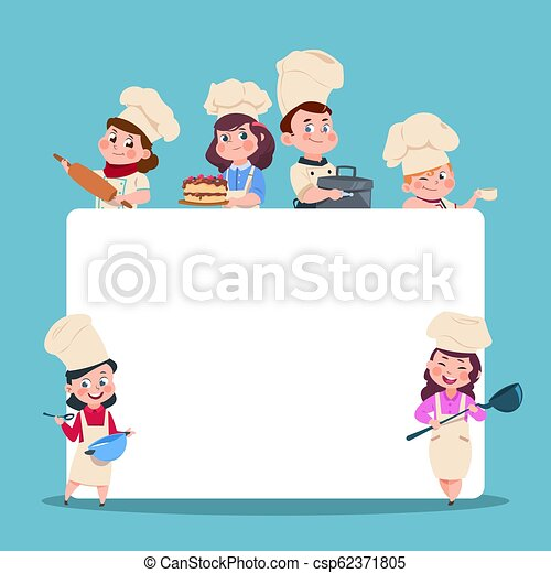 Little Cooks Cartoon Children Chef With Big Blank White Banner Cooking Class Students Vector Characters Set Chef And Cook