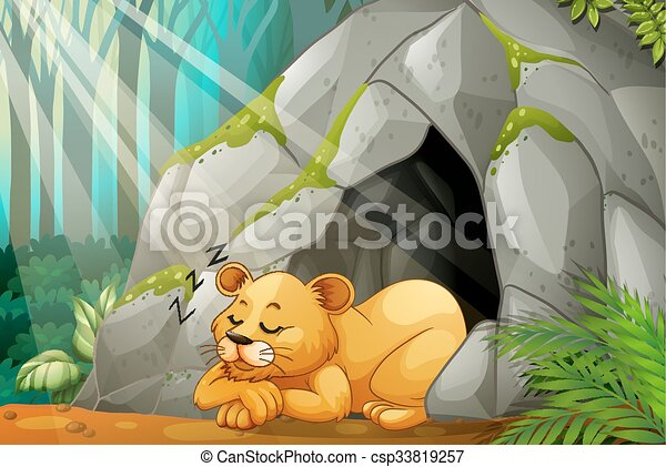Little Cub Sleeping In The Cave   Csp33819257