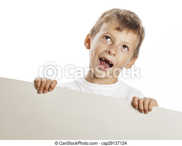 little cute boy holding empty shit to copyspace isolated - csp29137124
