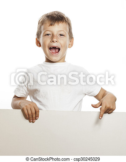 little cute boy holding empty shit to copyspace isolated - csp30245029