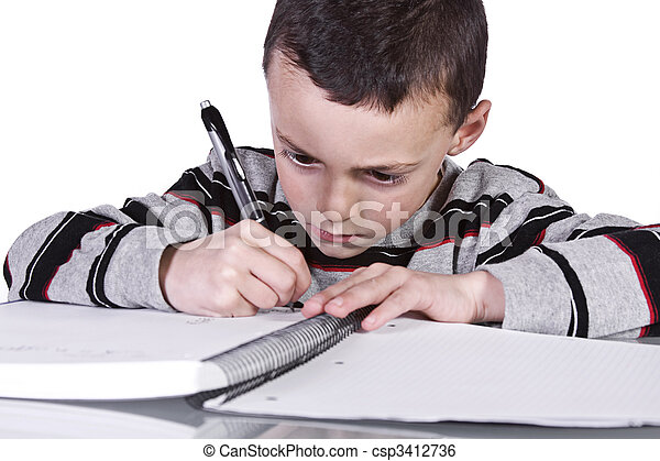 Little Cute Boy Practicing His Writing Skills - csp3412736
