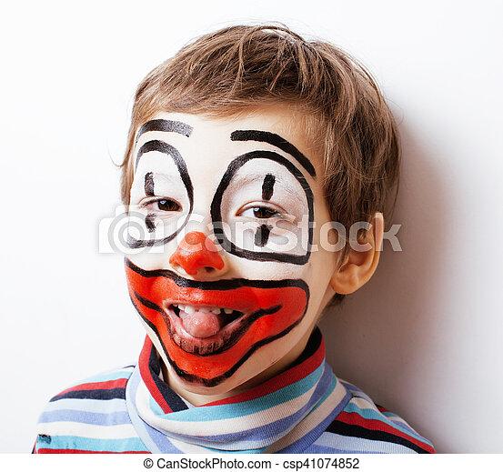 little cute boy with facepaint like clown, pantomimic expression - csp41074852